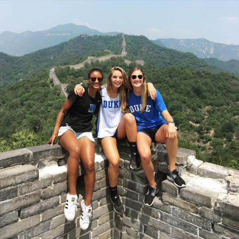 Duke students at Great Wall