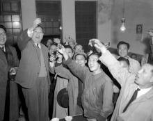 Mayor-elect of Taipei celebrates electoral victory with supporters, 1950