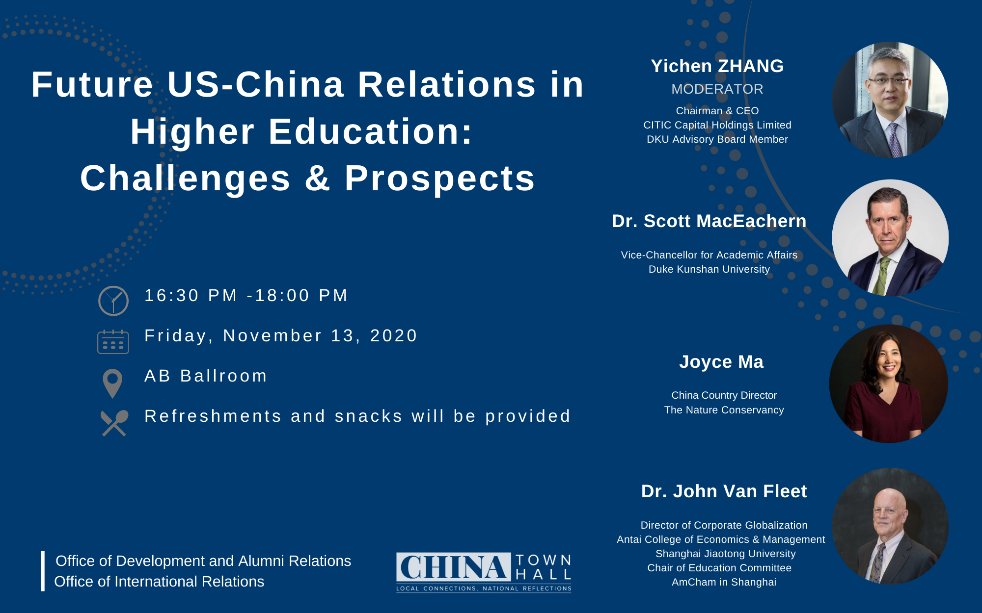 DKU China Town Hall 2020 event title, time, and speakers